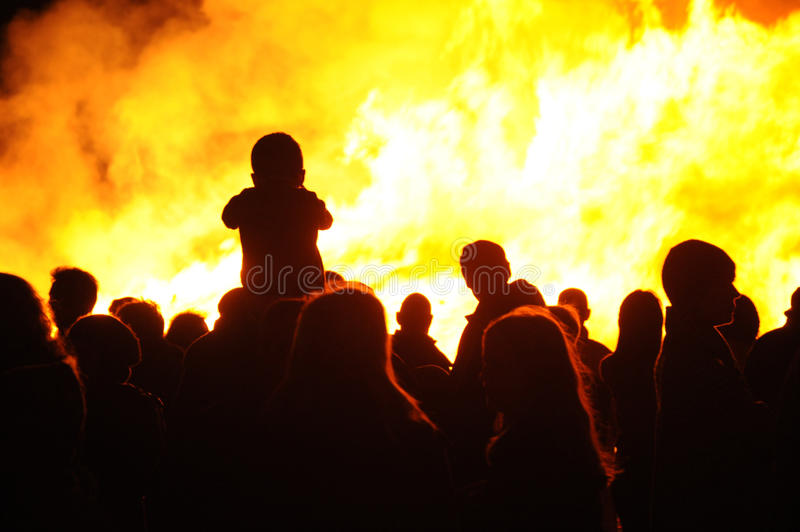 Bonfire and people