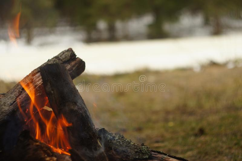 bonfire by the river stock photography