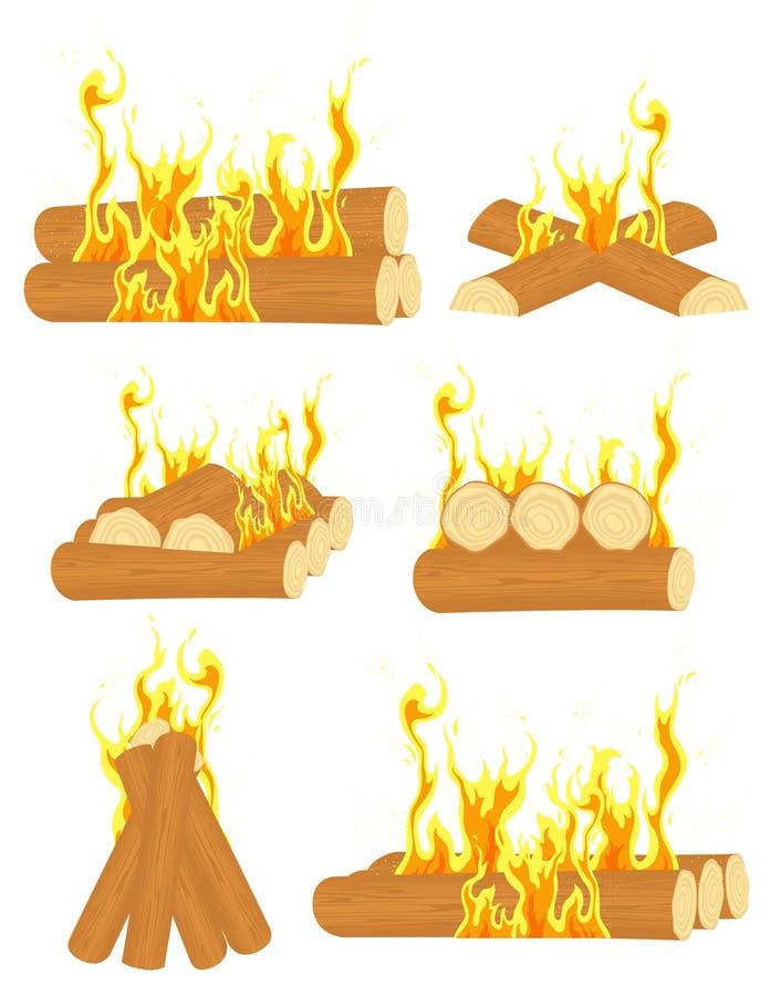 Bonfire set. Illustration, AI file included royalty free illustration