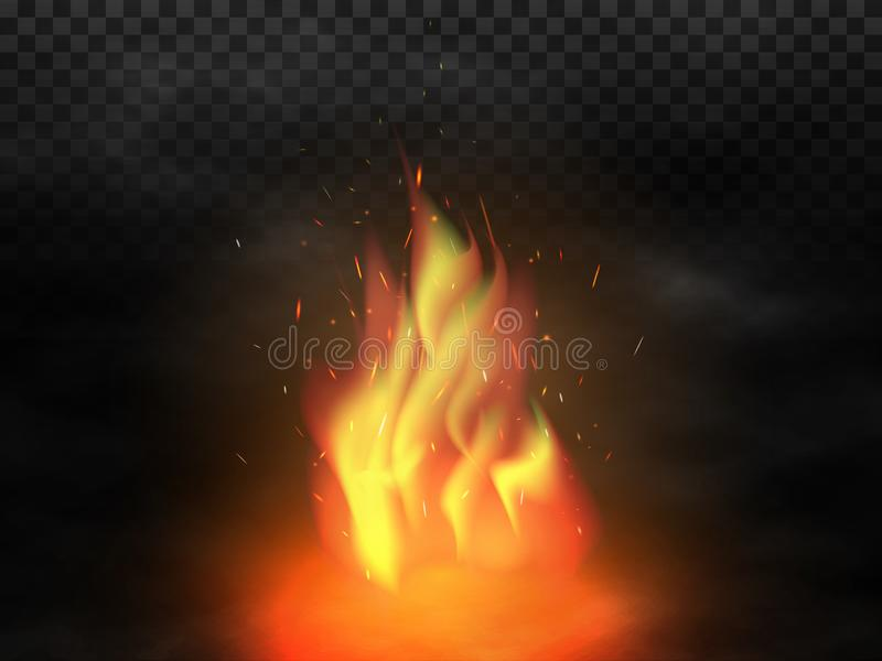 Bonfire and smoke. Realistic campfire with fire sparks. Glowing particles flying up on transparent background. Red and vector illustration