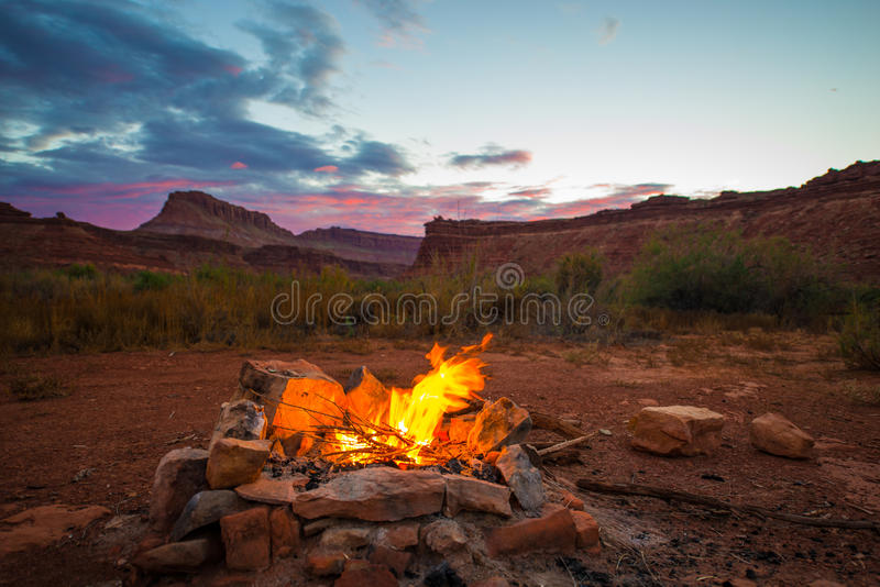 Bonfire after Sunset Camping in Utah royalty free stock images