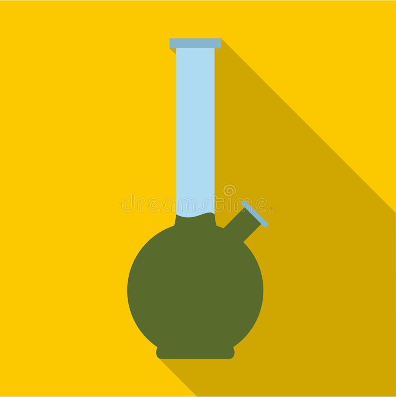 Bong para o ícone de fumo da marijuana, estilo liso ilustração stock