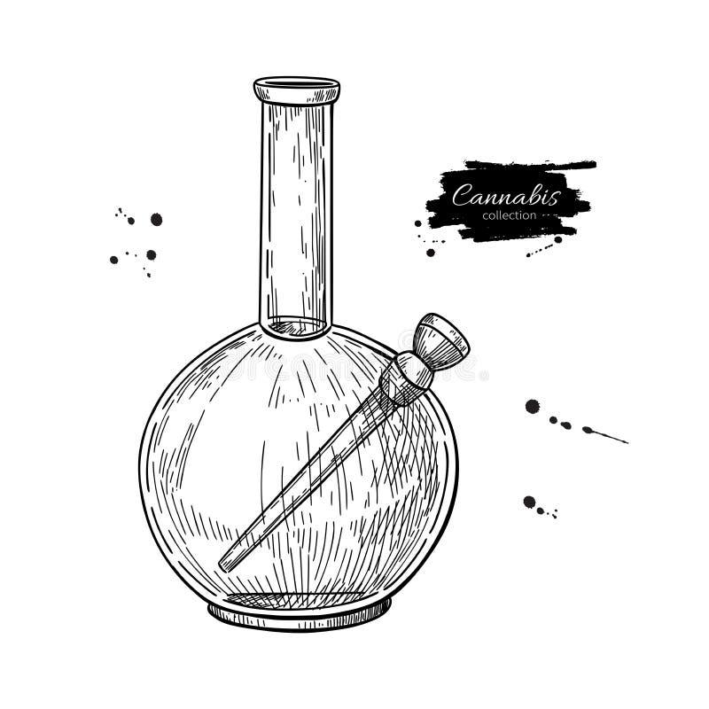 Bong para o cannabis Desenho do vetor Esboço de fumo do equipamento da marijuana Mão ilustração stock