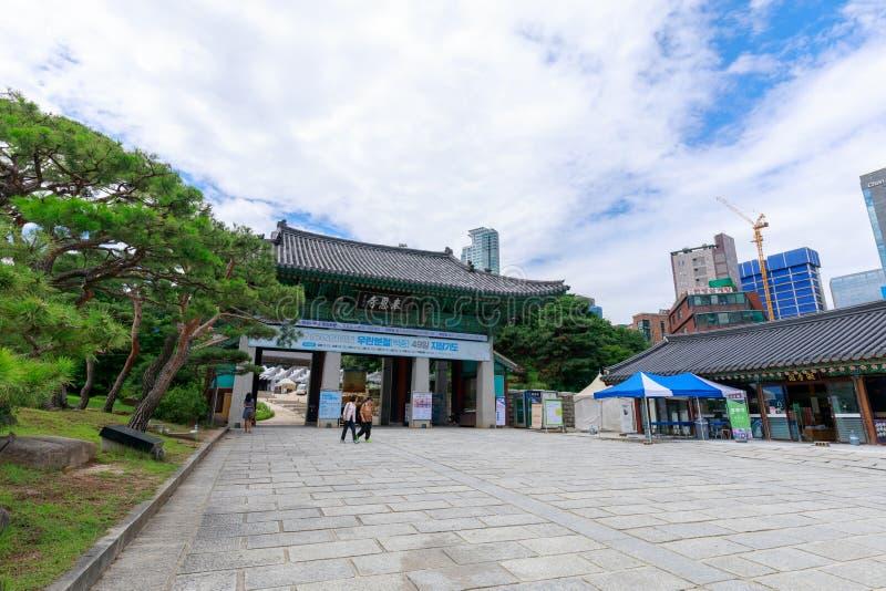 Bongeunsa-Tempelszene in Gangnam-Bezirk, Seoul-Stadt stockfoto
