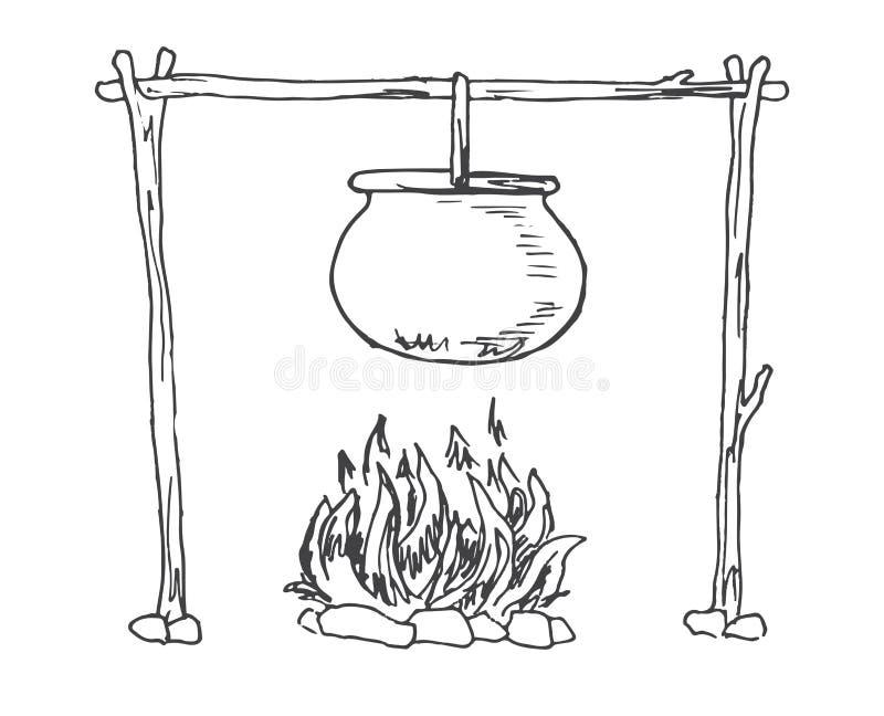 bongos Ένωση καζανιών πέρα από την πυρκαγιά διάνυσμα διανυσματική απεικόνιση