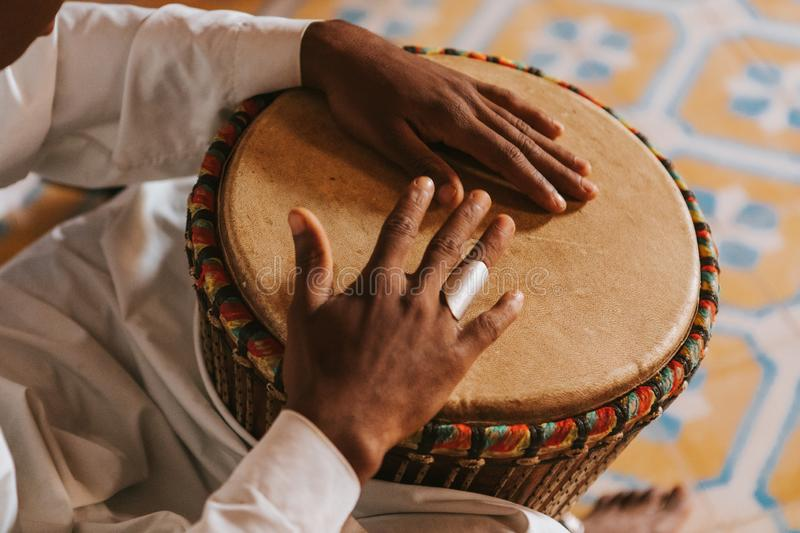 Bongos playing in Morocco, Africa royalty free stock image