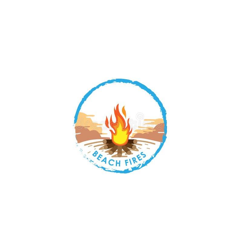 bongos r Λογότυπο πυρκαγιάς Διανυσματική απεικόνιση ύφους κινούμενων σχεδίων της φωτιάς με τα κούτσουρα Εικονίδιο φλογών πυρκαγιά ελεύθερη απεικόνιση δικαιώματος