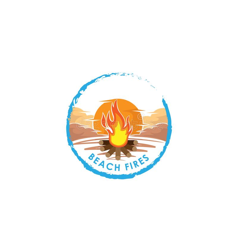 bongos r Λογότυπο πυρκαγιάς Διανυσματική απεικόνιση ύφους κινούμενων σχεδίων της φωτιάς με τα κούτσουρα Εικονίδιο φλογών πυρκαγιά διανυσματική απεικόνιση