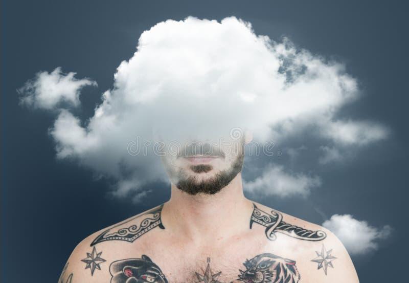 Bonheur de dépression de dilemme caché par nuage images stock