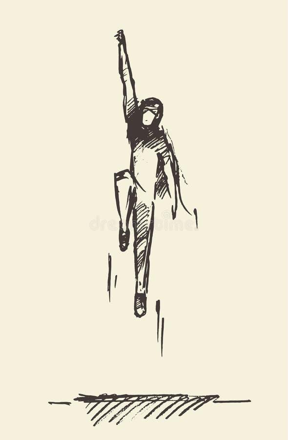 Bonheur de ondulation de liberté de manteau de garçon tiré de vecteur illustration de vecteur