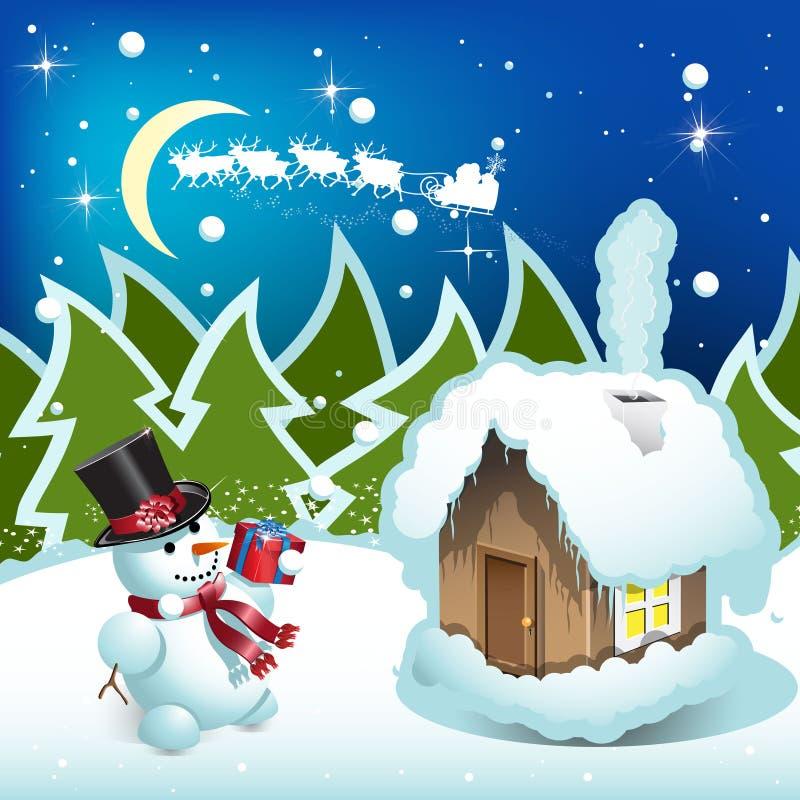 Download Bonhomme de neige illustration de vecteur. Image du cadeau - 16654661