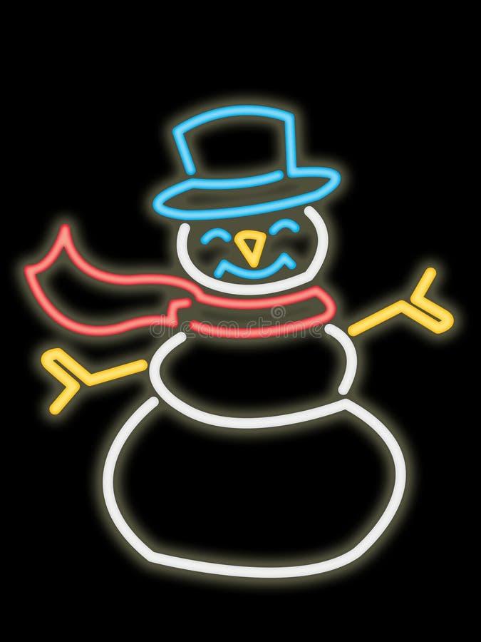 Bonhomme de neige au néon illustration stock