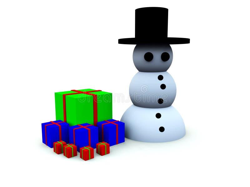 Bonhomme de neige avec des cadeaux illustration libre de droits
