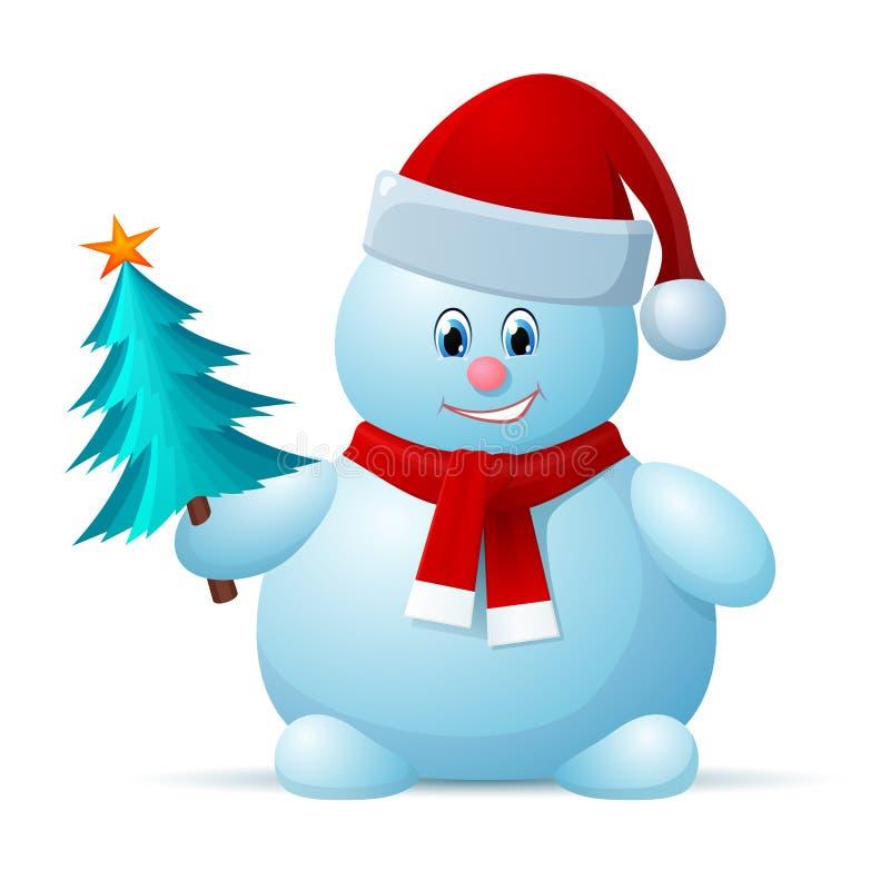Bonhomme de neige avec l'arbre de capuchon et de Noël de Santa illustration stock