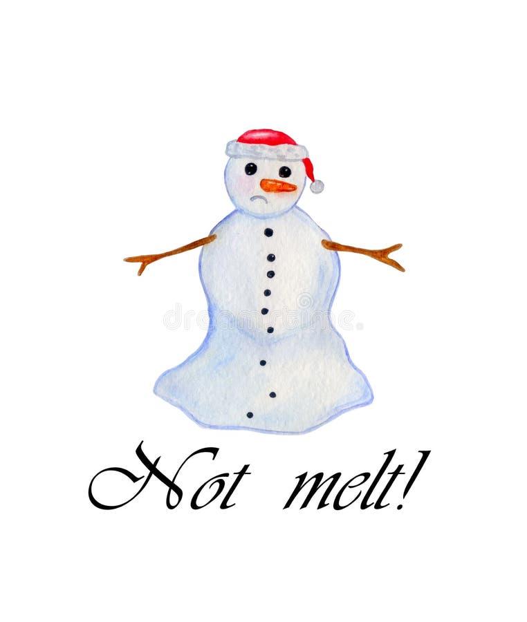 Bonhomme de neige avec l'arbre de Noël Illustration d'aquarelle Retrait de main illustration stock
