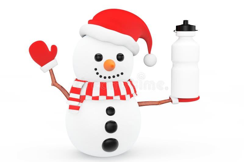 Bonhomme de neige avec la bouteille d'eau de plastique de sport illustration de vecteur