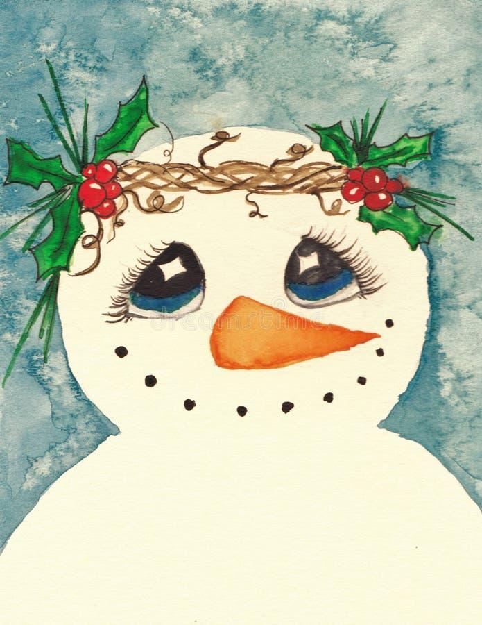 Bonhomme de neige avec la guirlande du houx images stock