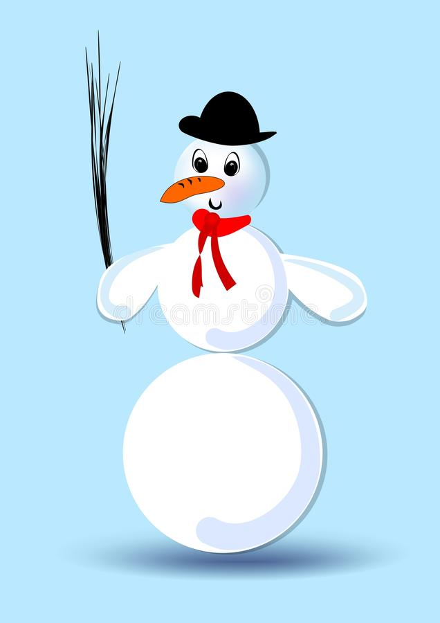 Bonhomme de neige avec le chapeau en soie et l'écharpe rouge, figure d'isolement, clipart sur le fond bleu frais, illustration de vecteur