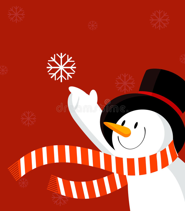 Bonhomme de neige avec le flocon de neige. Rouge. illustration de vecteur