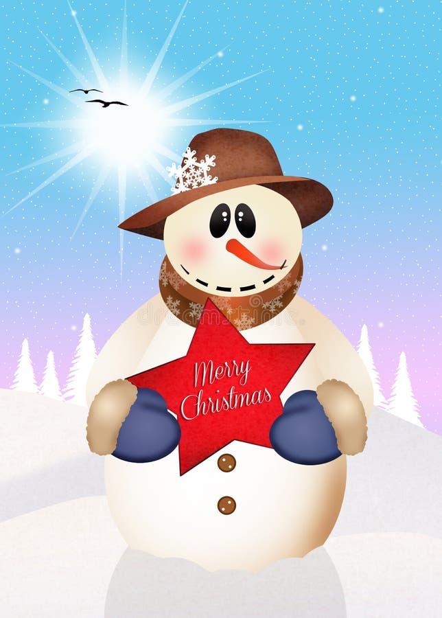 Bonhomme de neige avec le Joyeux Noël de signe illustration libre de droits