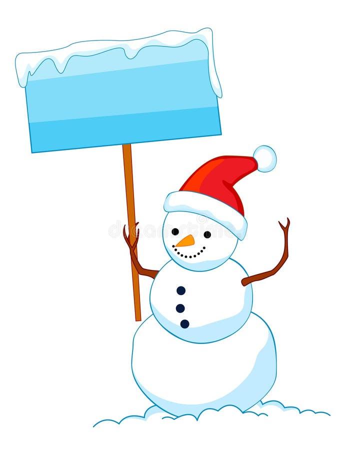 Bonhomme de neige avec le panneau de signe illustration de - Modele bonhomme de neige ...