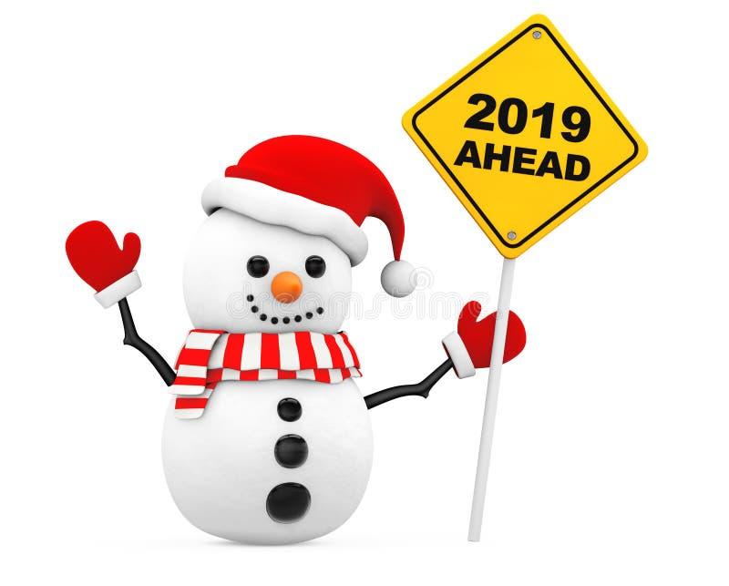 Bonhomme de neige avec le signe de la nouvelle année à venir 2019 rendu 3d illustration stock