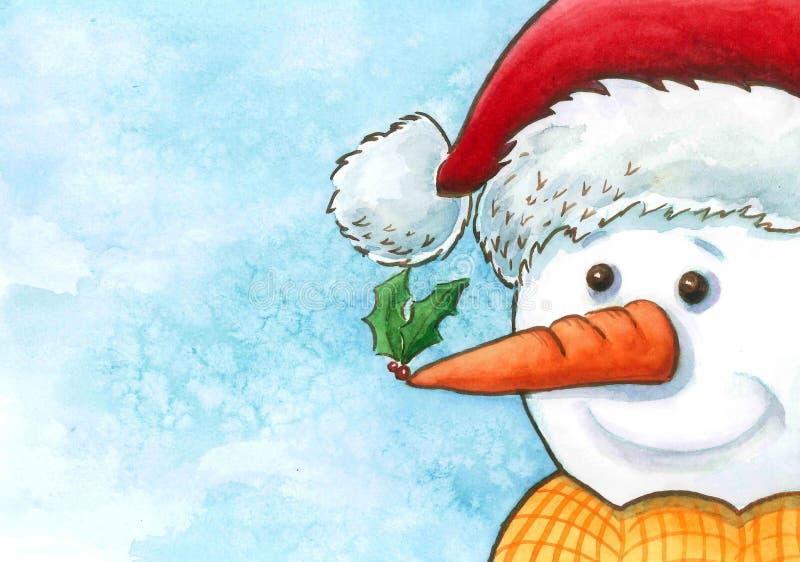Bonhomme de neige avec saint illustration de vecteur