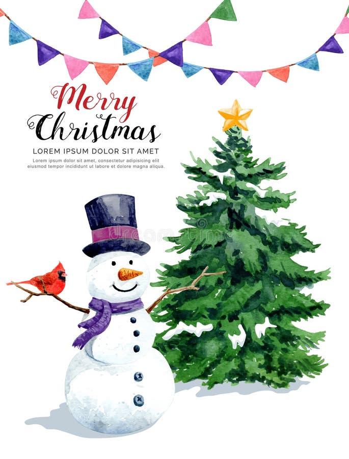 Bonhomme de neige d'aquarelle avec l'oiseau et le drapeau d'hiver de pin illustration libre de droits