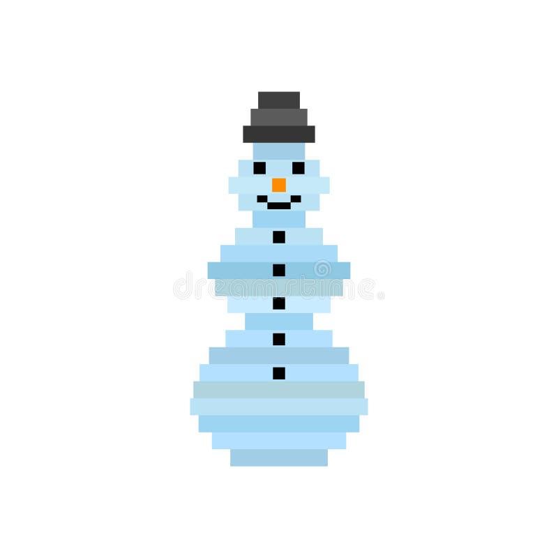 Bonhomme de neige d'art de pixel de vecteur Fond de Noël, carte de voeux illustration libre de droits