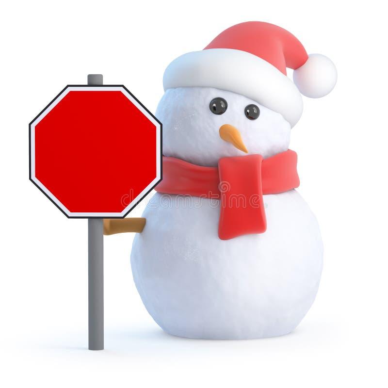 bonhomme de neige 3d avec un panneau routier vide illustration de vecteur