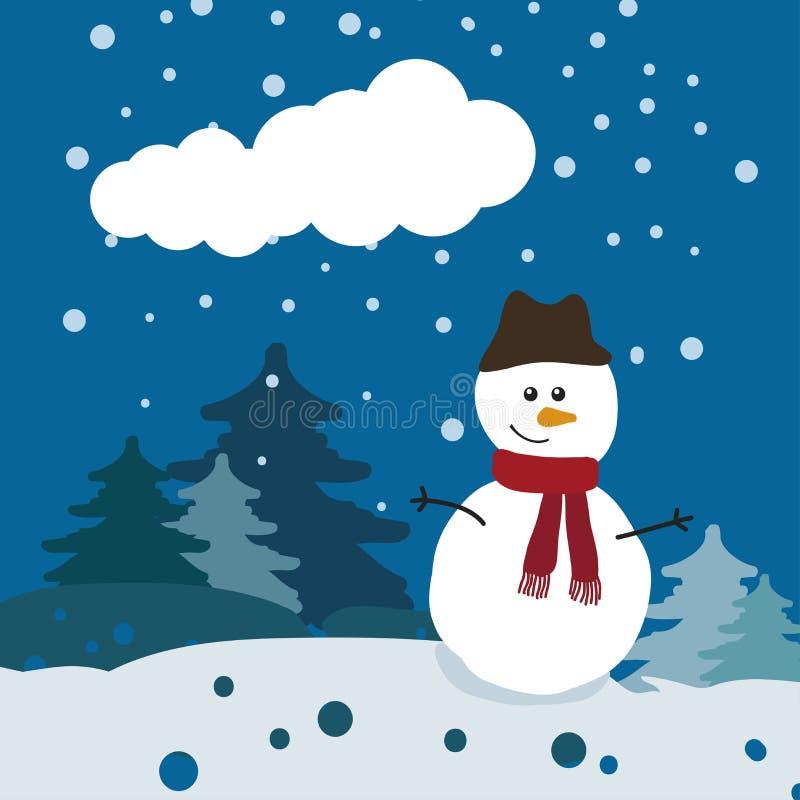 Download Bonhomme De Neige Dans La Forêt D'hiver Illustration de Vecteur - Illustration du scène, décoration: 76082170