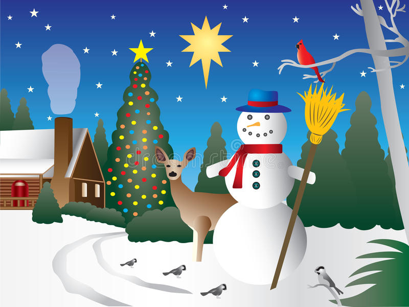 Bonhomme de neige dans la scène de Noël illustration stock