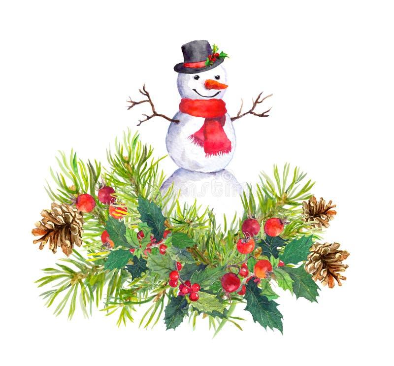Bonhomme de neige dans le chapeau supérieur, écharpe rouge, arbre de sapin, gui Aquarelle pour la nouvelle année ou la carte de N illustration stock
