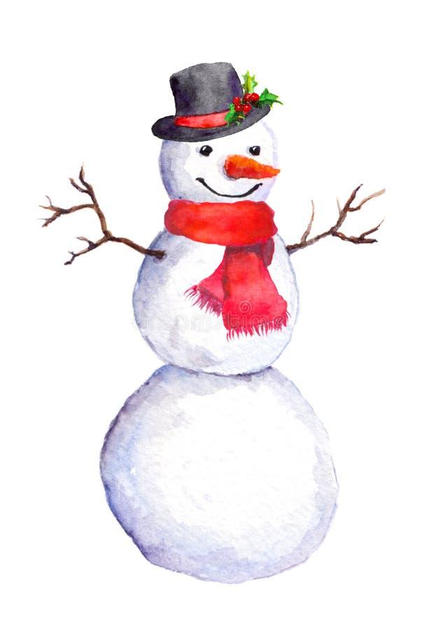 Bonhomme de neige dans le chapeau supérieur et l'écharpe rouge watercolor illustration libre de droits