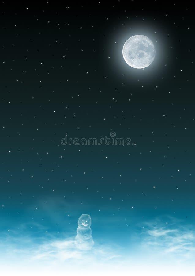 Bonhomme de neige dans le clair de lune illustration stock