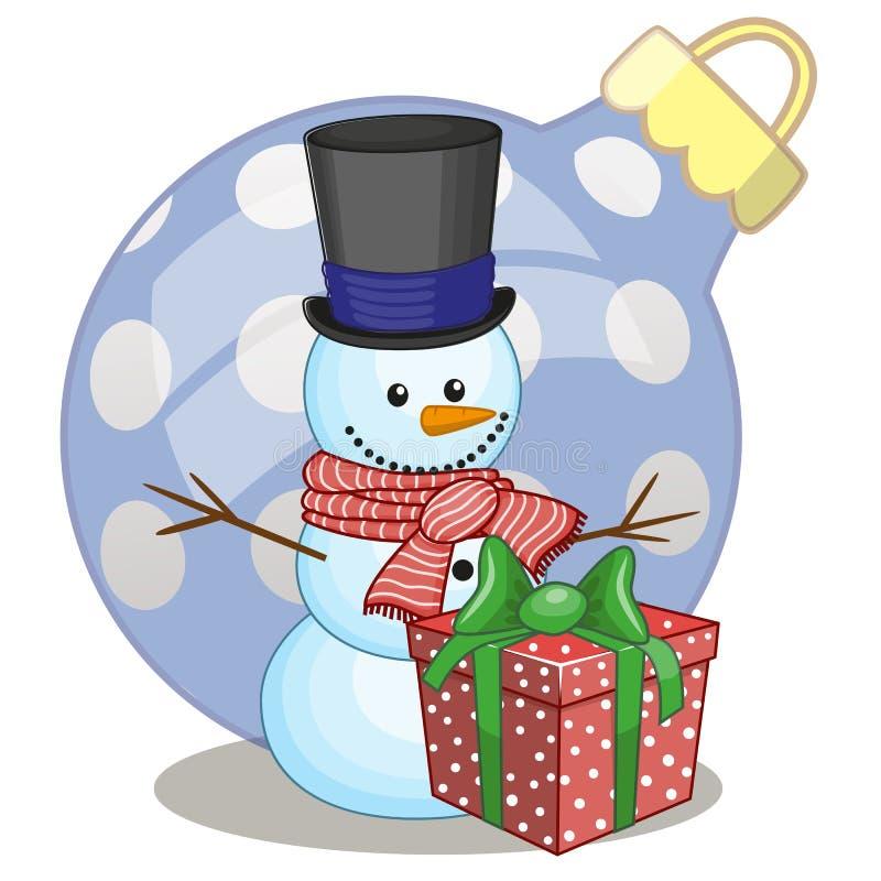 Bonhomme de neige dans un chapeau illustration de vecteur