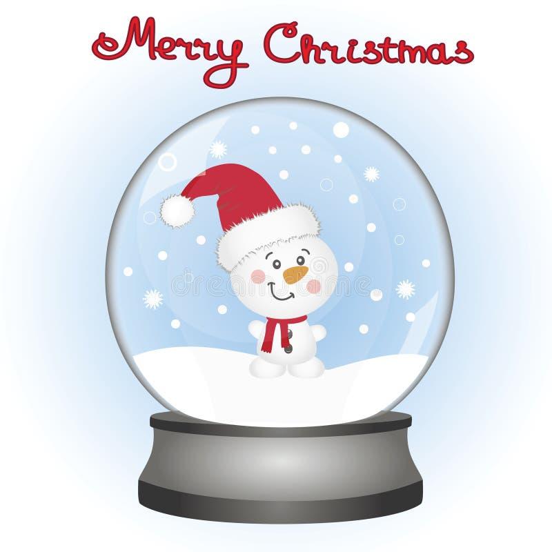 Bonhomme de neige dans un globe de neige Carte de Noël illustration stock