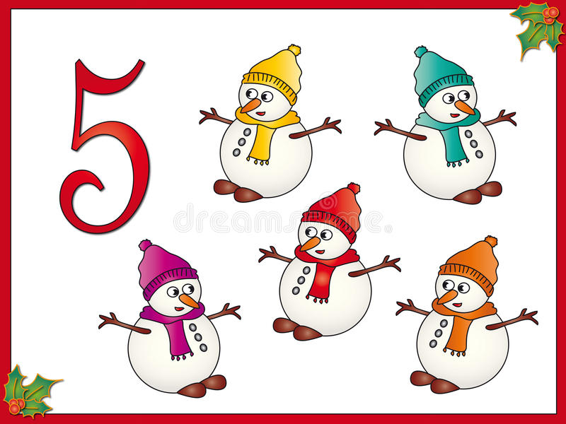 bonhomme de neige de 5 12 jours de Noël illustration de vecteur
