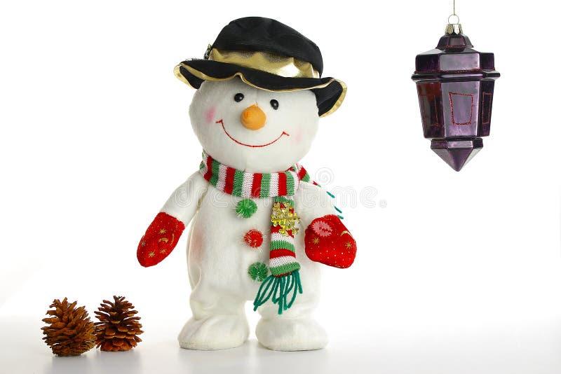 Bonhomme de neige de décoration de Noël sur le blanc photos stock
