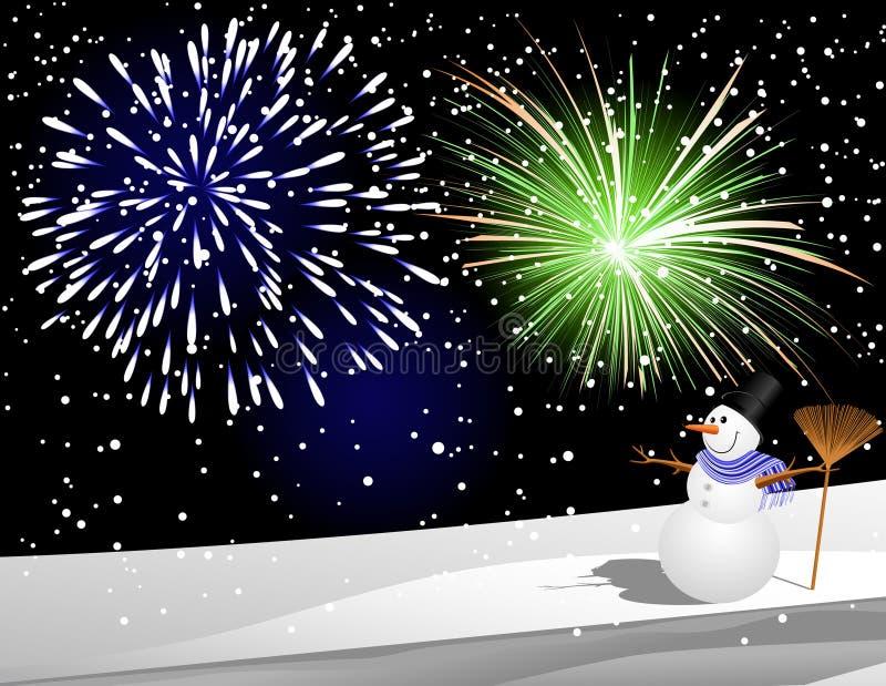 bonhomme de neige de feu d'artifice dessous illustration libre de droits