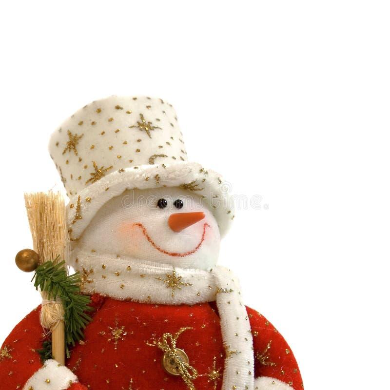 Bonhomme de neige de Noël avec le balai sur un fond blanc photo stock