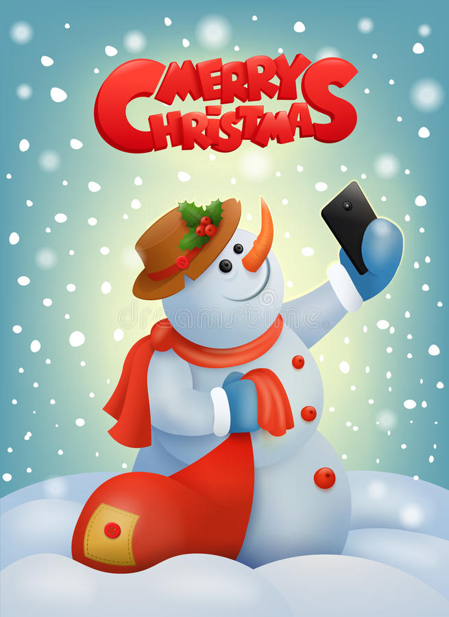 Bonhomme de neige de Noël avec le téléphone intelligent faisant le selfie illustration de vecteur