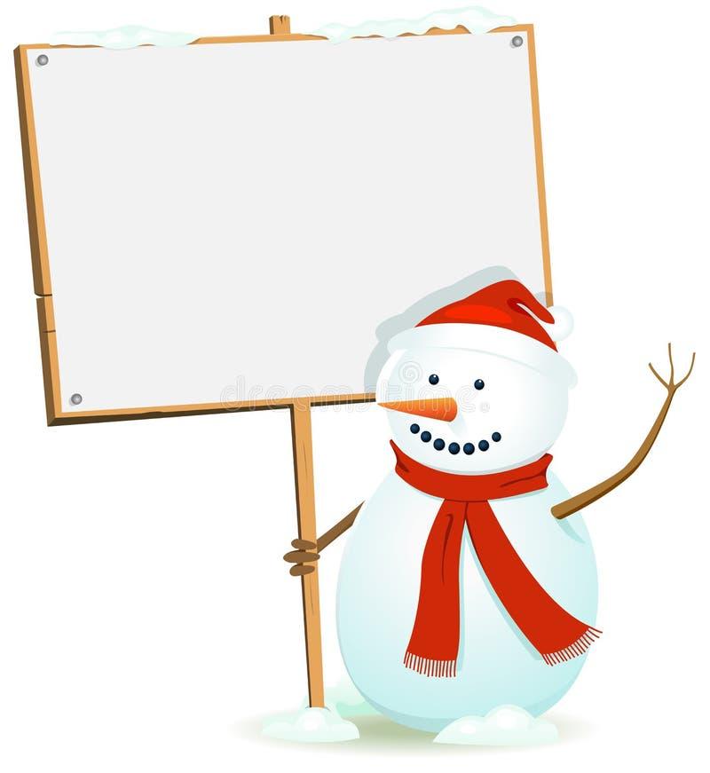 Bonhomme de neige de Santa retenant le signe en bois illustration stock