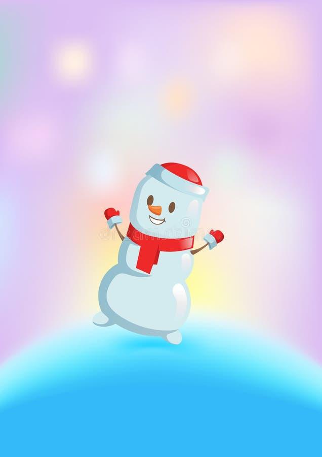 Bonhomme de neige drôle dans la danse rouge d'écharpe parmi les lumières lumineuses Carte de Noël Illustration plate de vecteur D illustration libre de droits