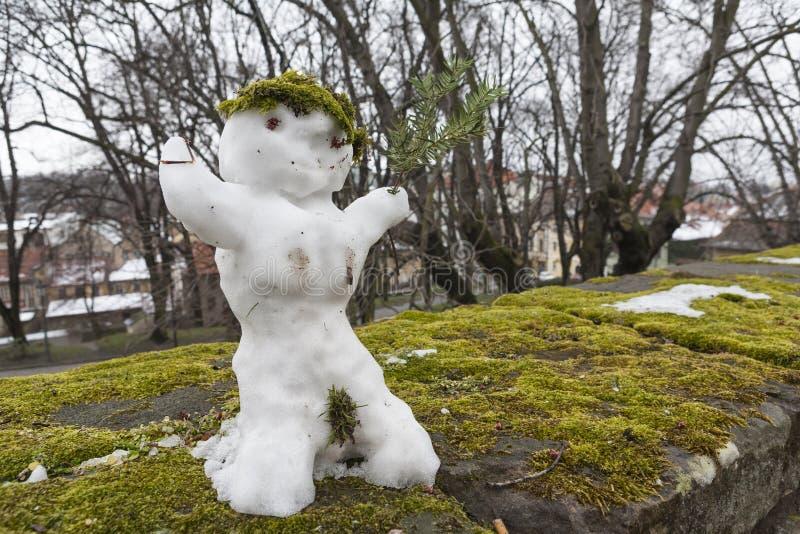 Bonhomme de neige drôle images libres de droits
