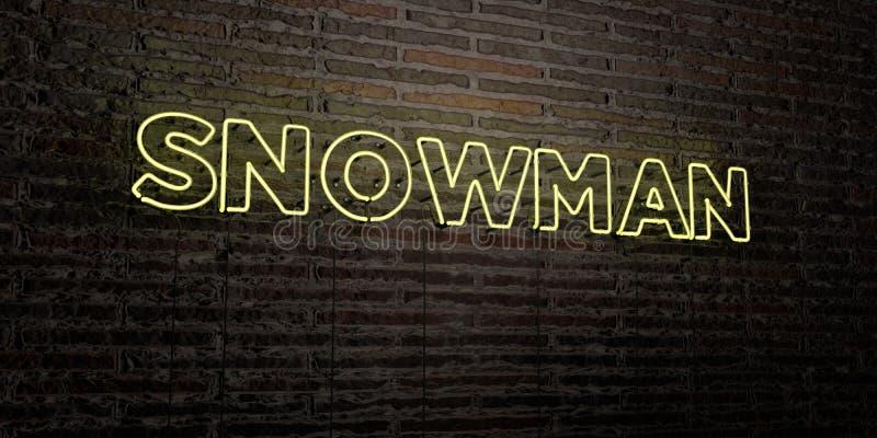 BONHOMME DE NEIGE - enseigne au néon réaliste sur le fond de mur de briques - image courante gratuite de redevance rendue par 3D illustration stock