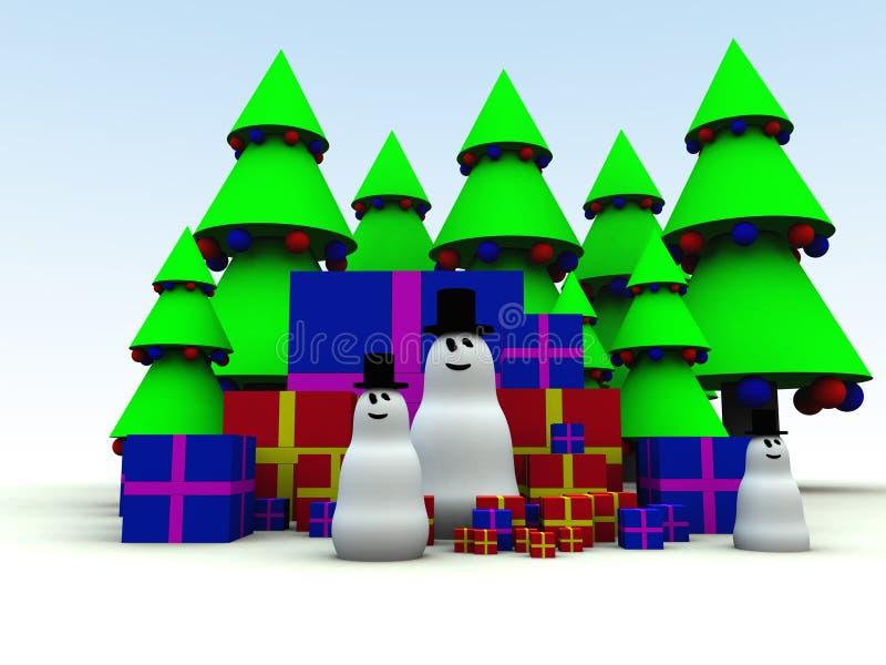 Bonhomme de neige et cadeaux de Noël 12 illustration libre de droits
