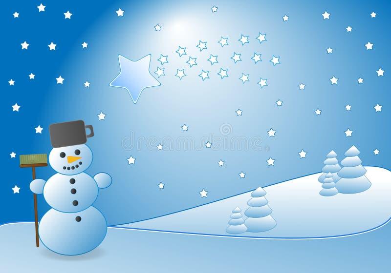 Bonhomme de neige et comète illustration stock