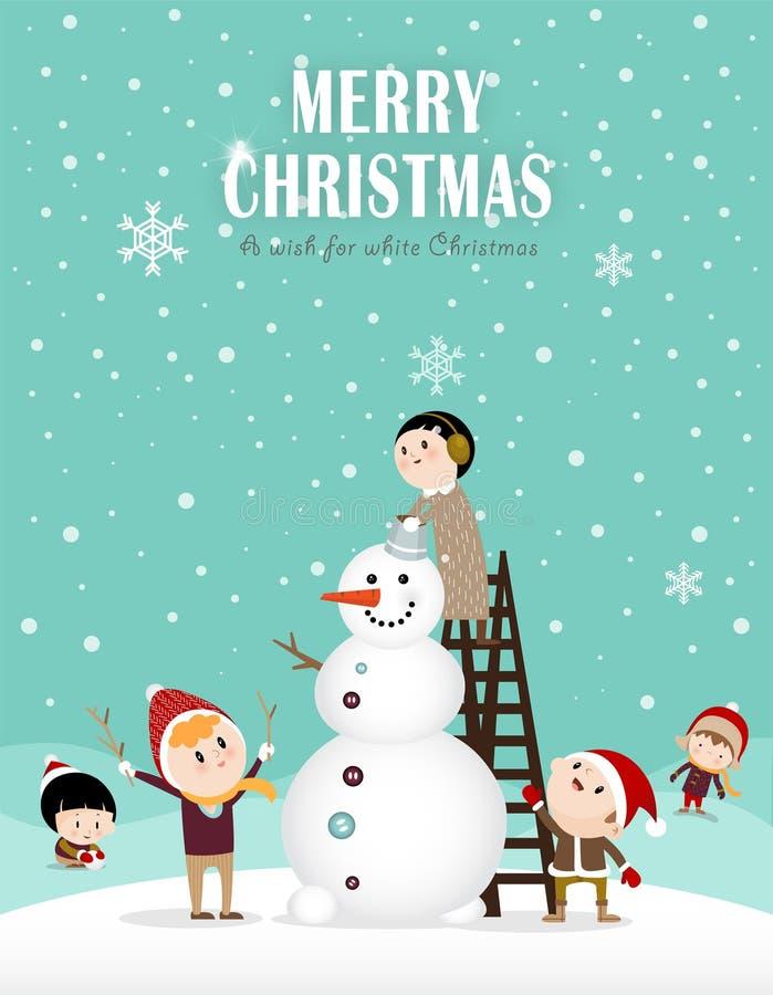 Bonhomme de neige et enfants A illustration de vecteur