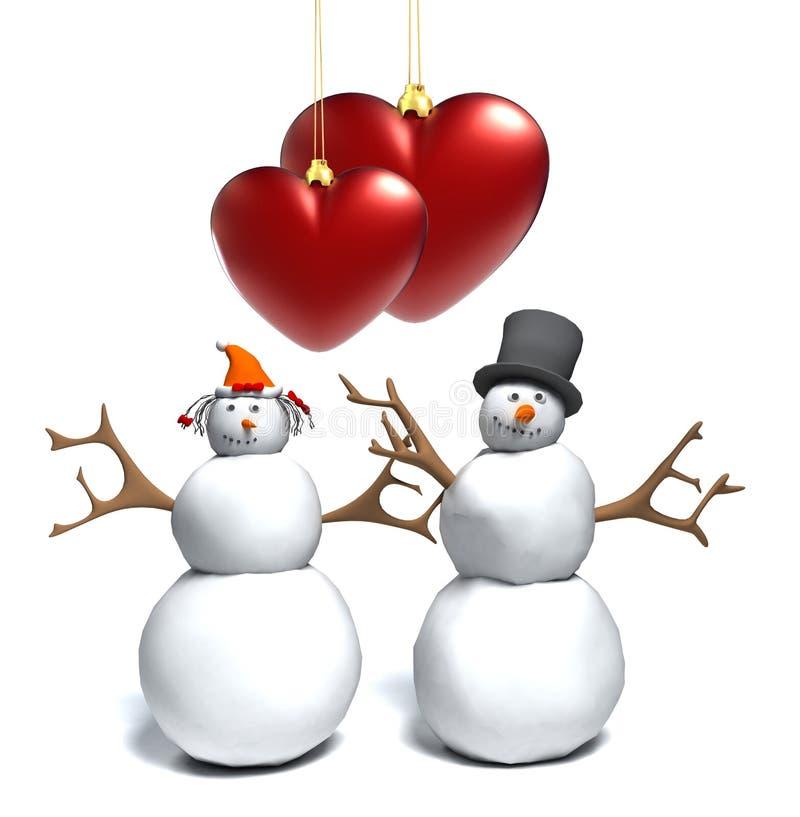 Bonhomme de neige et femme de neige avec coeurs illustration de vecteur